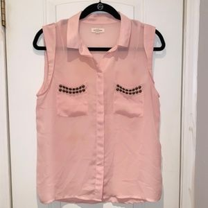Urban Outfitters Tops - Pink Studded Sleeveless Blouse